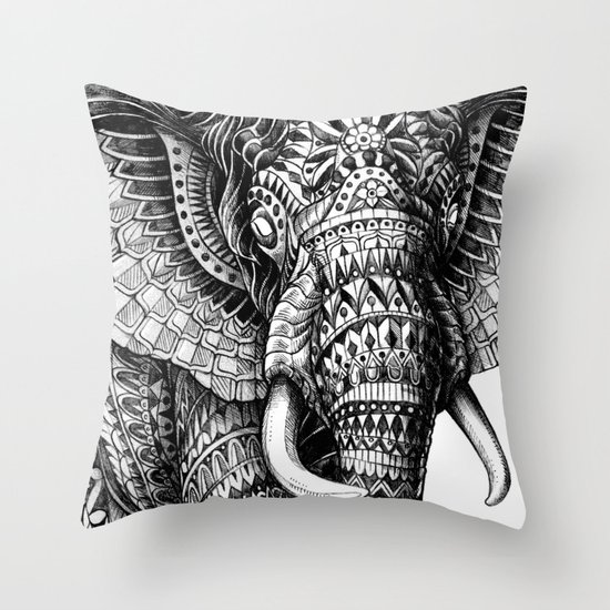 Throw Pillow Covers Society6 : Ornate Elephant v.2 Throw Pillow by BIOWORKZ Society6