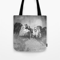 rushmore Tote Bags featuring Rushmore at Night by Peaky40