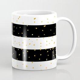 Black white gold faux glitter stripes polka dots  Coffee Mug