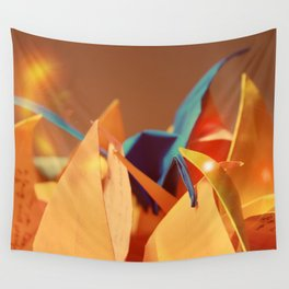 Senbazuru | oranges and blue Wall Tapestry