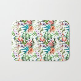 Flamingo Hibiscus Tropical Pattern Bath Mat