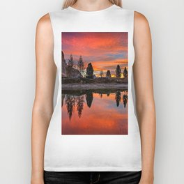 Mountain Lakeside Sunset Biker Tank