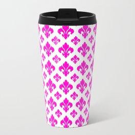 Pink Fleur de Lis Pattern Travel Mug