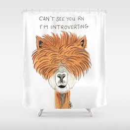 Introvert llama Shower Curtain