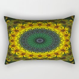 Large Yellow Wildflower Kaleidoscope Art 4 Rectangular Pillow