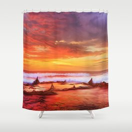Evening flame Shower Curtain