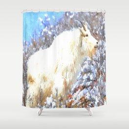 Mountain Goats In the Alpine Wyoming Mountain - Rocky Mountain Goat Shower Curtain