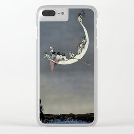 """ Moon's First Voyage"" Fairy Art by W Heath Robinson Clear iPhone Case"
