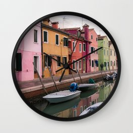 Canals of Burano, Italy Photography, Colorful Houses Travel Wall Art Wall Clock