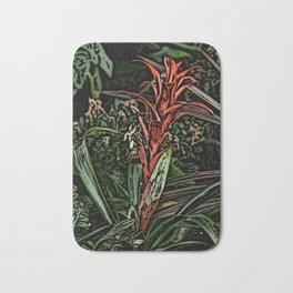 Spiky Red Flower Woodcut Bath Mat