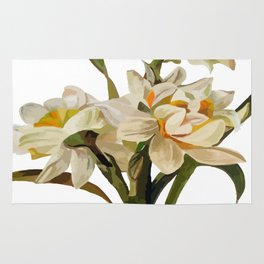 Double Narcissi Spring Flower Bouquet Rug