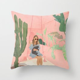 Enjoying the New Day Throw Pillow