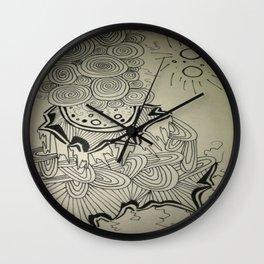 Ink Doodle Sprial Design Wall Clock