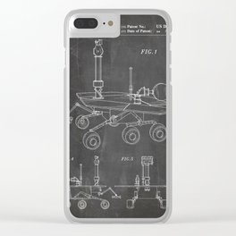 Nasa Mars Rover Patent - Mars Exploration Rover Art - Black Chalkboard Clear iPhone Case