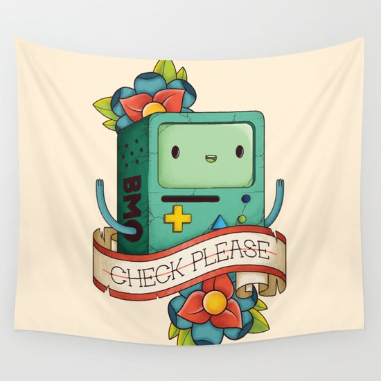 BMO   CHECK PLEASE Wall Tapestry