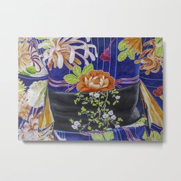 Kimono Flowers Metal Print