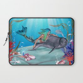 The Mermaid And The Dolphin Laptop Sleeve