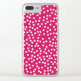 Deep Pink and White Polka Dot Pattern Clear iPhone Case