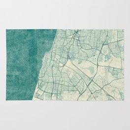 Tel Aviv Map Blue Vintage Rug