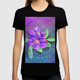 Abstract Lasiandra on textured kaleidoscope T-shirt