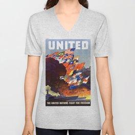 Vintage United Nations Poster Unisex V-Neck