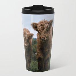 Scottish Highland Cattle Calves - Babies playing II Travel Mug
