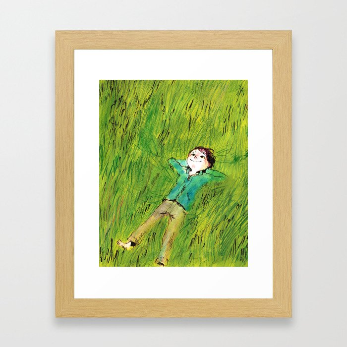 On the grass Framed Art Print