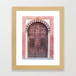 Weathered Red Wood Castle Door of Medieval Spain Framed Art Print