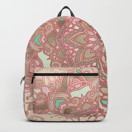 Rose gold cyan mandala Backpack