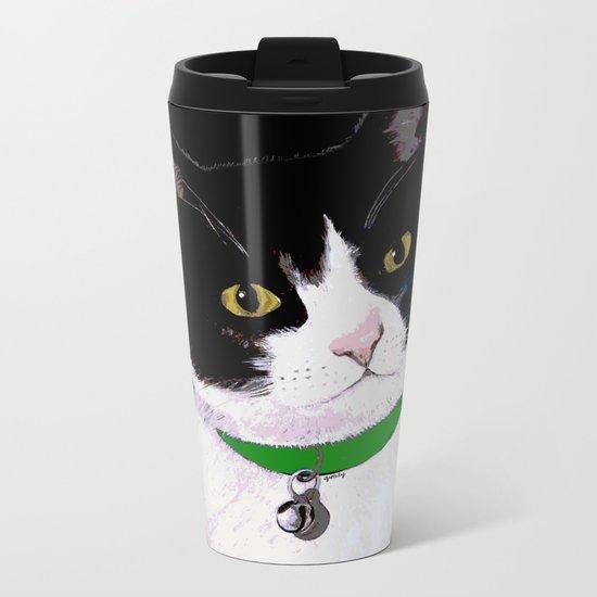 Tuxedo Cat Metal Travel Mug