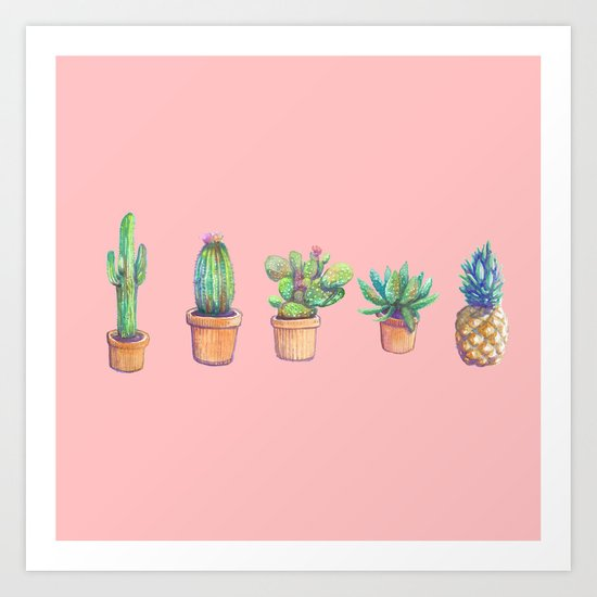 evolution cactus to pineapple pink version Art Print