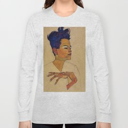 SELF PORTRAIT WITH HANDS ON CHEST - EGON SCHIELE Long Sleeve T-shirt