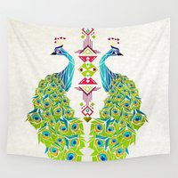 peacock Wall Tapestries featuring peacock by Manoou