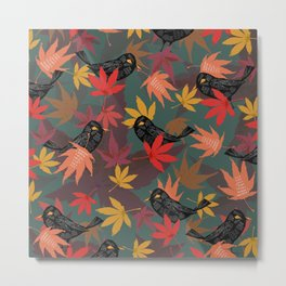 Autumn Blackbirds Metal Print