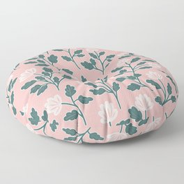 Vintage Style Floral | Green on Pink Floor Pillow