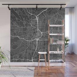 Atlanta Map, USA - Gray Wall Mural