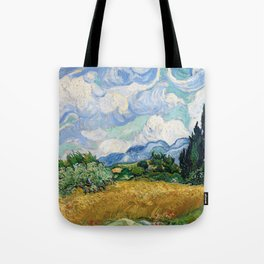 Wheat Field with Cypresses by Vincent van Gogh Tote Bag