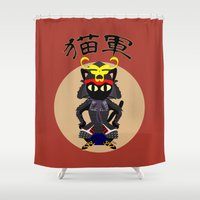 army Shower Curtains featuring Cat Army by BATKEI