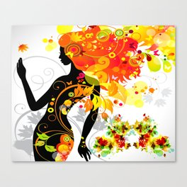 Autumn decorative composition with girl Canvas Print