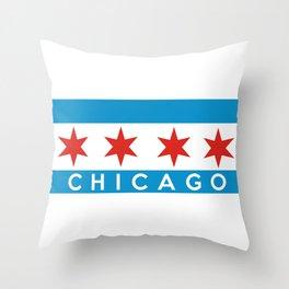 chicago city flag name text Throw Pillow
