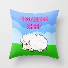 Suspicious Sheep Throw Pillow