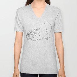 One line English Bulldog Downward Dog Unisex V-Neck