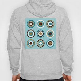 Circles in Rings Teals Gold Brown Cream Hoody