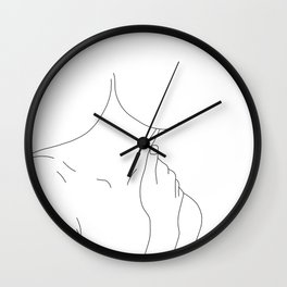 Hands on neck line drawing illustration - Hannah Wall Clock