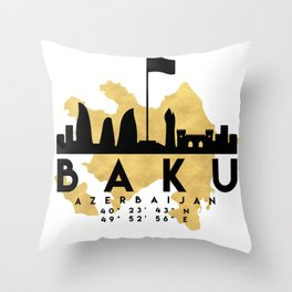 BAKU AZERBAIJAN SILHOUETTE SKYLINE MAP ART Throw Pillow