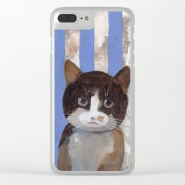Missy or A Cat with Blue Stripes Clear iPhone Case
