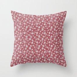 Christmas Rose Velvet Snow Flakes Throw Pillow