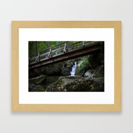 Bridge over a Waterfall Framed Art Print