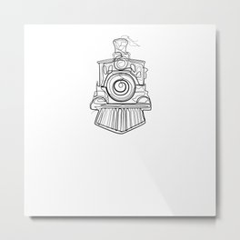 Train Locomotive - One Line Drawing Metal Print