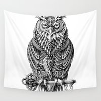 owl Wall Tapestries featuring Great Horned Owl by BIOWORKZ